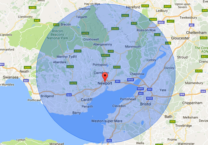 Radius map of Newport Wales